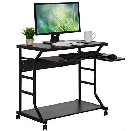 Best Choice Products 2-Tier Home Office Computer Desk Workstation w/Locking Wheels - Black by Best Choice Products