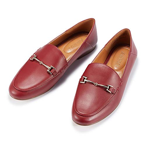 JENN ARDOR Women's Penny Loafers Slip On Flats Comfort Driving Office Loafer Shoes (10, Red)