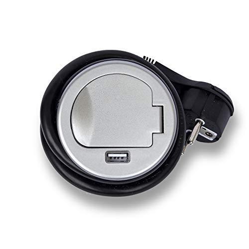 IP20 bureau 1x USB pour cuisine max le bureau Multiprise de table avec c/âble de 1,8 m /également pour le plan de cuisson Permet d/économiser de lespace des prises 230 V AC Prise escamotable 1x Schuko meuble Noir Argent 3
