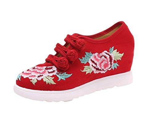 Insun Alpargatas Zapatos o Rojo Bordado Mary Para Dise Mujer Mujer Para Jane rAr6CxqwF