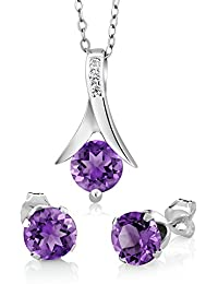 Amethyst 925 Sterling Silver Round Cut Earrings Pendant Set 2.25 Carat with 18inches Silver Chain