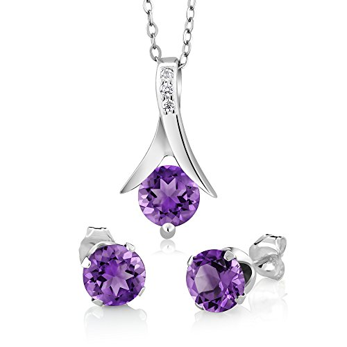 (Gem Stone King Amethyst 925 Sterling Silver Round Cut Earrings Pendant Set 2.25 Carat with 18inches Silver Chain)