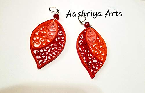 Paper Quilled Dangling Earrings Handmade