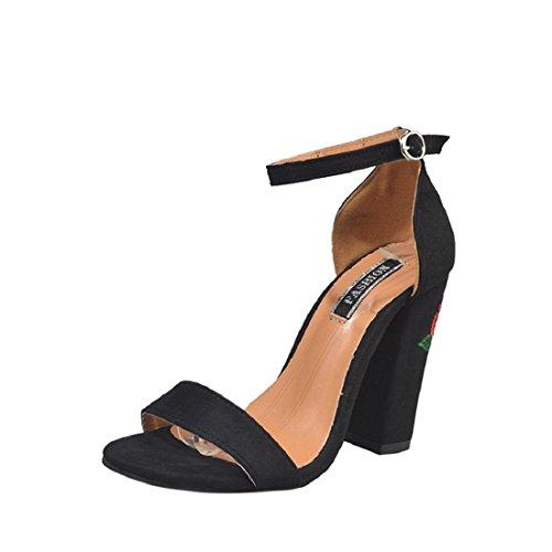 Été EU Femmes hauts Noir brutes 39 Culater® avec Rose talons Suede Beige à Broderie Chaussures des 51xwgq