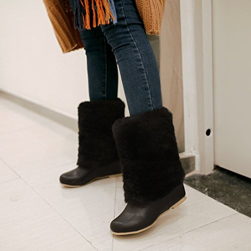 Showet Skinne Womens Fashion Faux Fur Skjult Kilehæl Snø Støvler Svart