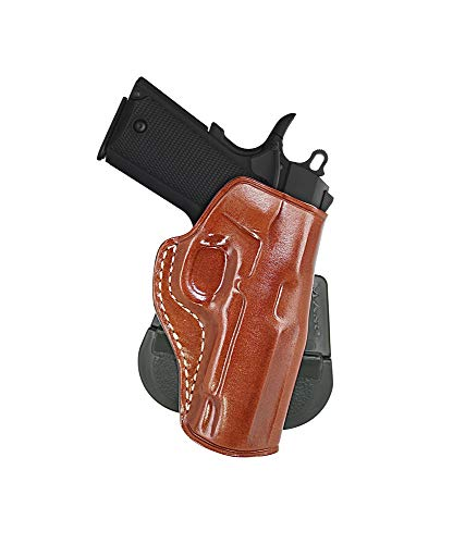 Premium Leather OWB Paddle Holster Open Top Fits Browning 1911 380 Black Label Compact 3.62''BBL, Right Hand Draw, Brown Color #1348#