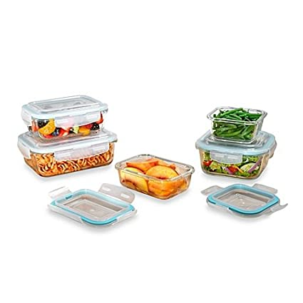 4d50c6cd3358 ProGlass 10-Piece Tempered Glass Food Storage Set With BPA-Free Plastic  Easy Snap Lids, Freezer, Microwave And Dishwasher Safe