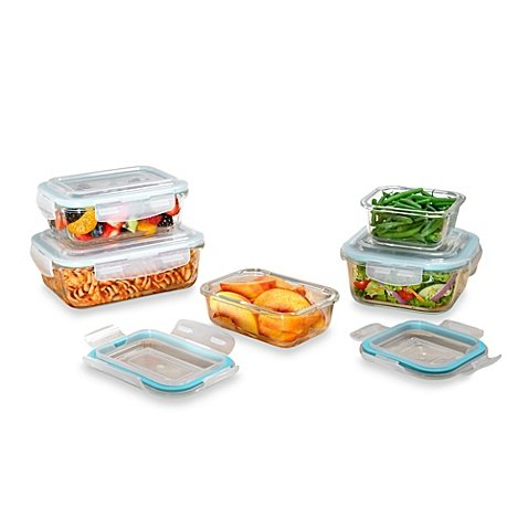 ProGlass 10-Piece Tempered Glass Food Storage Set With BPA-Free Plastic Easy Snap Lids, Freezer, Microwave And Dishwasher -