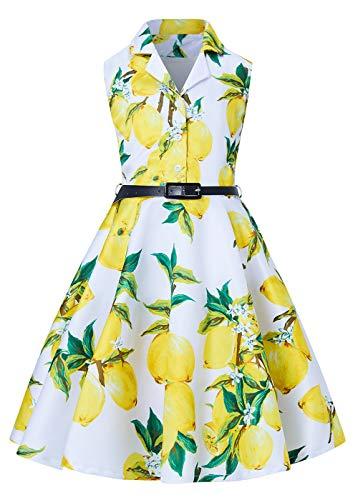 Dresses For Girls Size 8 (RAISEVERN Girls Vintage Party Dress Novelty Spring Long Swing Wedding Lemon Print Dress for Little Girl 8-9)