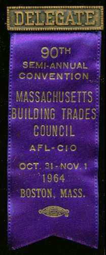 Massachusetts Building Trades Convention Delegate pin 1964 ()