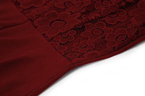 Laorchid Femmes Dentelle Vintage Robe Robe De Soirée Swing Cocktail Manches Longues Bordeaux Dos Nu