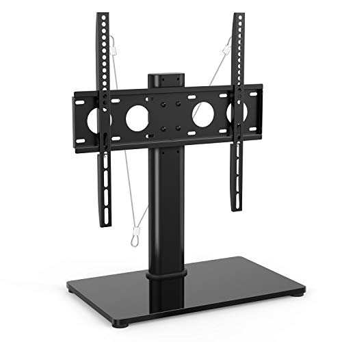 Price comparison product image Universal TV Stand - Table Top TV Stand for 32-47 Inch LCD LED TVs - Height Adjustable TV Base Stand with Tempered Glass Base & Wire Management & Security Wire, Holds up to 88lbs, VESA 400x400mm