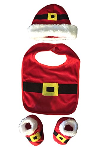 3 Piece Baby Santa Clause Suit Gift Set for Infants- Includes Bib, Hat, and Booties (Santa Baby Outfit)