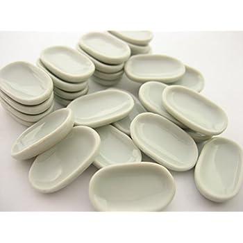 10 Mini White Oval Plate Dish 17x23mm Dollhouse Miniatures Ceramic Supply 12791