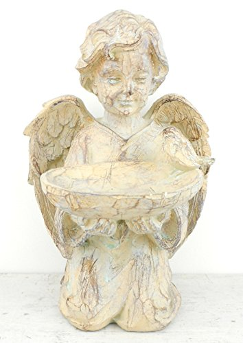 Cherub Angel Girl Birdfeeder Statuary, Resin Angel Statue with (Bird Girl Statue)