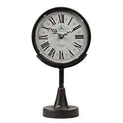 Lily's Home Antique Inspired Decorative Mantle Clock with Large Roman Numerals, Battery Powered with Quartz Movement, Fits with Victorian or Antique Décor Theme, Black (11 3/4 Tall x 6 1/2 Wide)