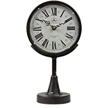 Lily's Home Antique Inspired Decorative Mantle Clock, Black, 13.75 Inch