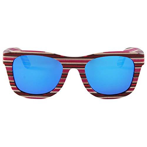 de Stripe Cadre Faites soleil Bois Rayé Lunettes Lunettes Polarisées Main Soleil Bambou Red Cadre Couleur Blue de Rétro Coloré Stripe Lunettes en de Extérieur Lunettes Ywz8CwSxq