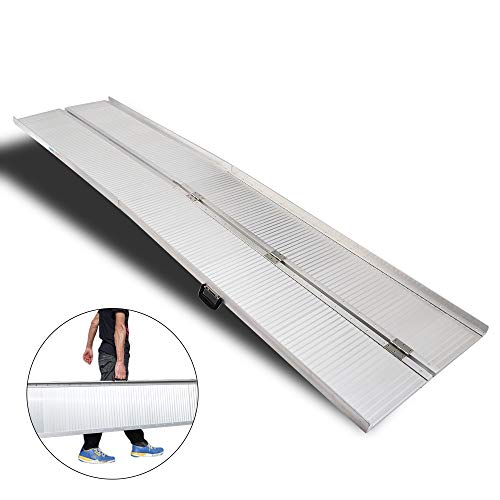 10ft Aluminum Frame (Mefeir 10' Wheelchair Ramp Threshold Portable Ramps 10ft for Home Steps Doorway Stairs Aluminum Handicap Metal House Mobile Porch Temporary Multifold Disable No-Sild Lightweight Scooter Ramps)