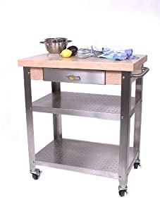 Cucina Elegante Kitchen Cart Maple Stainless
