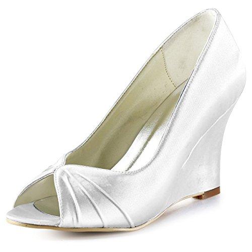 ElegantPark EP2009 Escarpins Femme Compense Satin Bout ouvert Chaussures de mariee mariage bal Blanc Hby9hh
