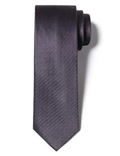 Origin Ties Men's 100% Silk Solid Herringbone Skinny Tie Dark - Dark Grey Solid