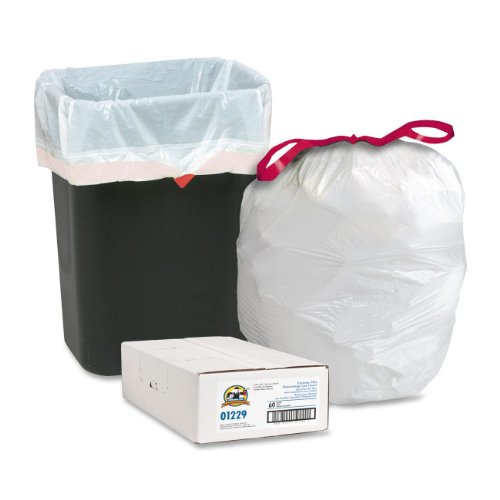 (Genuine Joe GJO01229 Expandable Drawstring Trash Can Liner, 16 Gallon Capacity, 25.12