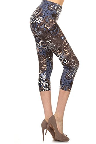 R773-CA-PLUS Modern Floral Capri Print Leggings