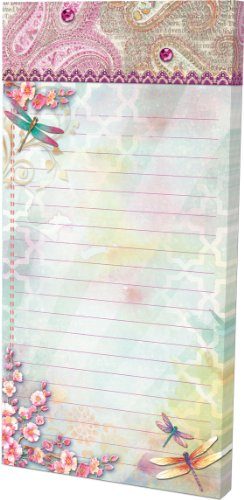 Paisley Dragonflies Punch Studio Embellished Magnetic List Pad