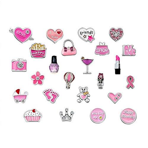 Q&Locket 24PCS Pink Style Love Heart Sister DIY Floating Charm For Living Memory Locket Necklace&Bracelet