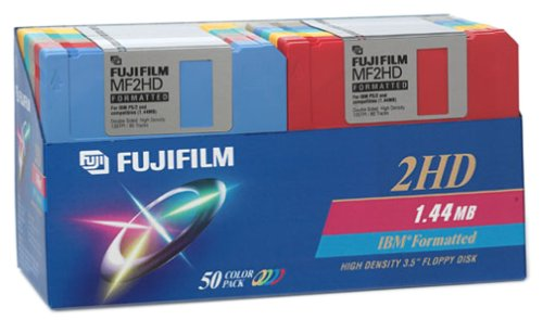 Fujifilm 3.5in. High Density Floppy Disk - IBM Formatted (50-Pack, Assorted Colors) (Discontinued by Manufacturer) by Fuji