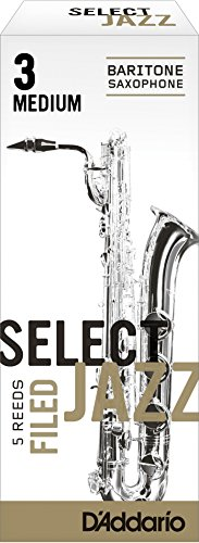 Rico Select Jazz Baritone Sax Reeds, Filed, Strength 3 Strength Medium, 5-pack