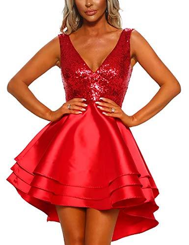 (SEBOWEL Women's Sequin Glitter V Neck Skater Mini Club Cocktail Party Swing Dress Red M)