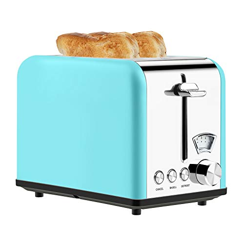 Toaster 2 Slice Best Rated Prime Stainless Steel Toaster Retro Wide Slot Cool Touch Bagel Toasters 5-Bread Shade…