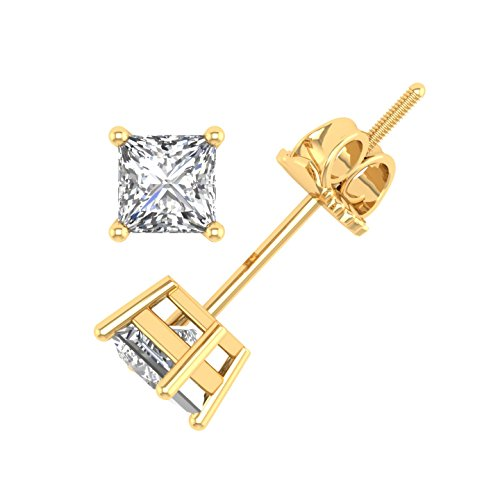 IGI Certified 14k Yellow Gold Princess Cut Diamond Stud Earrings (1/10 (Yellow Gold Princess Cut Diamond)