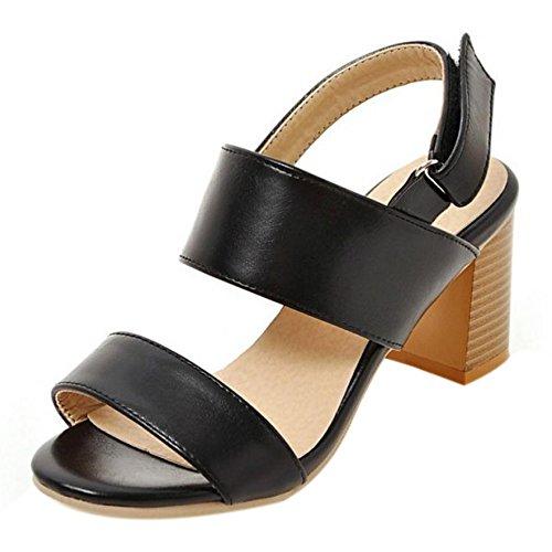 De Scratch Ouvert Noir Moyen Mode Chaussures Femmes Talons Taoffen 1qd4wET1C
