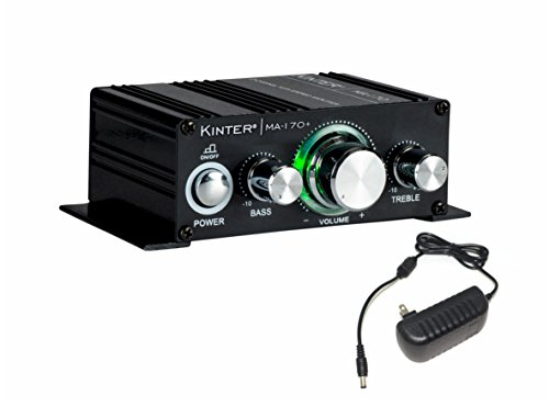 Kinter MA170+ 2-Channel Auto Home Cycle Arcade DIY 2 x 18 W Mini Amplifier Bass Treble RCA Input Audio Mini Amplifier with 12V 3A Power Supply Black (Best Diy Audio Amplifier)
