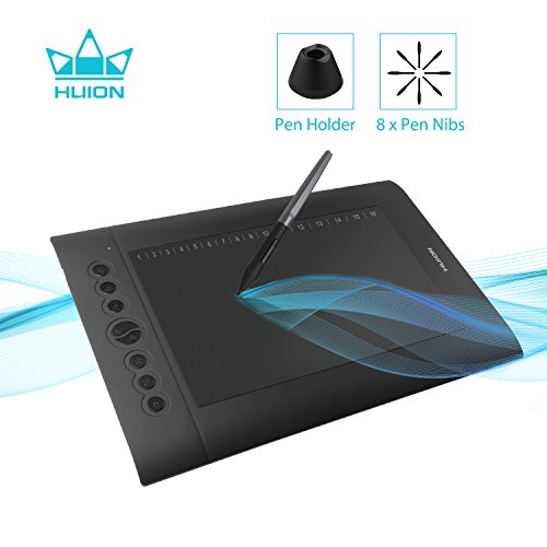 Huion H610 Pro V2 Graphic Drawing Tablet Tilt Function Battery-Free Stylus and 8192 Pen Pressure with 8 Pen Nibs (Best Pen Tablet For Animation)