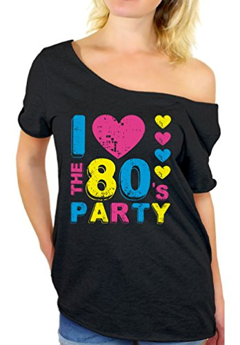 Awkward Styles 80s Shirt Off Shoulder Sexy Neon Party 80s Clothes 80s Costume I Love The 80's Party 2XL]()