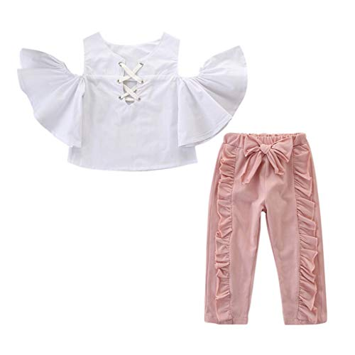 (LiLiMeng Toddler Kids Baby Girls Outfits Clothes Off Shoulder Ruffles Sleeve T-Shirt+Bowknot Ruffle Long Pants Set White)