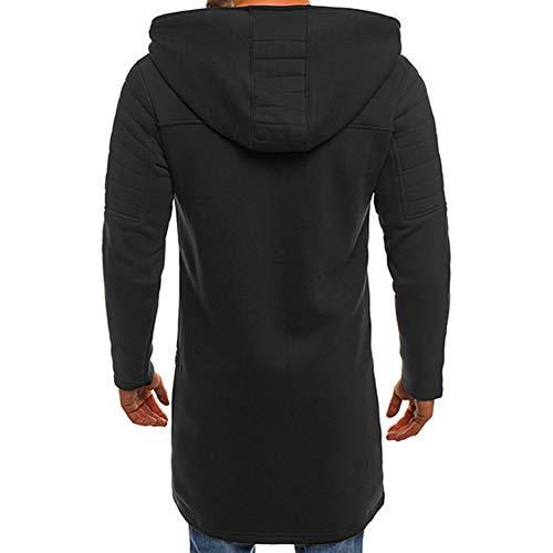 Men's Casual Zip Up Hoodie Jacket Long Hooded Sweatshirt Fashion Autumn Winter Cardigan Outwear with Pockets