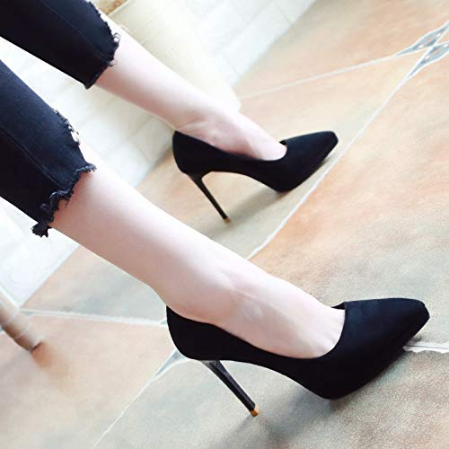 High And Sexy Suede Pointed Shoes Single KPHY Shoes 10Cm The In Fall Women'S Shoes Eight Thin Black Thirty Shallow Heeled Simple wgxx8vqf