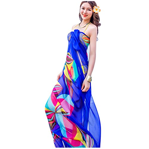 GERINLY Chiffon Thin Sarong Wrap: Geometrical Design Plus Size Beach Cover up (Blue)