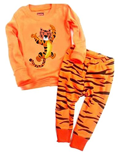 "Babygp ""Tiger"" Boys 2 Piece Pajama 100% Cotton(size:2-7years) (4T, brown)"