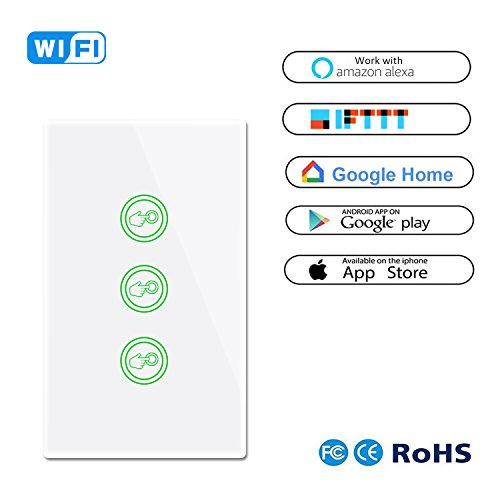 Smart Wifi Light Switches Touch Wall Switch Panel Replace 3 Switches in 1 Gang Wall Box Combination Smart Light Switch Work with Alexa and Work with Google Home and IFTTT Smartphone App Control