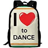 OIlXKV I Love To Dance Print Custom Casual School Bag Backpack Multipurpose Travel Daypack For Adult