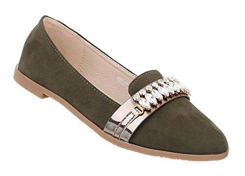 Schuhcity24 Damen Schuhe Halbschuhe Slipper Ballerinas Olive