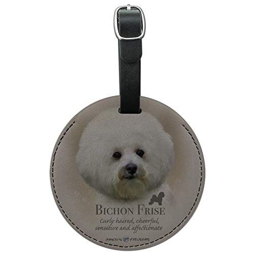 Bichon Frise Dog Breed Round Leather Luggage Card Suitcase Carry-On ID Tag (Frise Tag Bichon Luggage Leather)