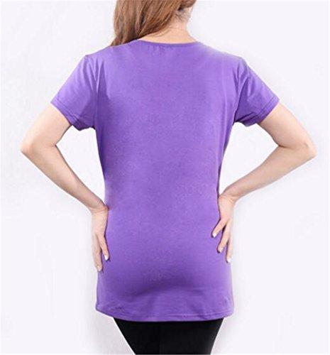 Gravidanza Magliette Stampa Top T Pregnancy Donna Manica Camicie Bluse Girocollo Shirt Magliette Kerlana Estive Purple8 per Premaman Tops Corta 1585qvnwT