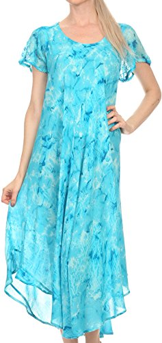 Sakkas 16800 - Sayli Long Tie Dye Cap Sleeve Embroidered Wide Neck Caftan Dress/Cover Up - Turquoise - OS